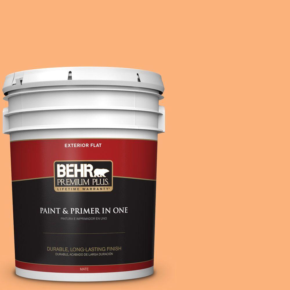 BEHR Premium Plus 5-gal. #P220-5 Fuzzy Peach Flat Exterior Paint