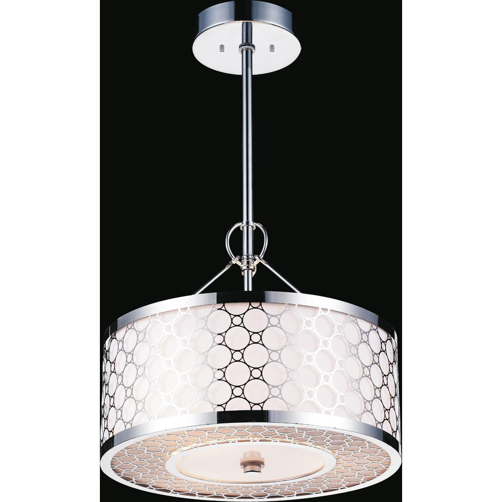 Swiss 4-Light Chrome Chandelier with White shade