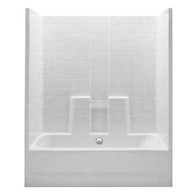 Everyday 60 in. x 30 in. x 74 in. 1-Piece Bath and Shower Kit with Center Drain in White