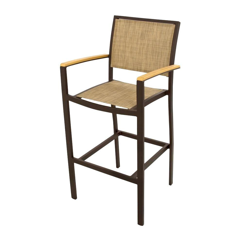 Bayline Textured Bronze All-Weather Aluminum/Plastic Outdoor Bar Arm Chair in