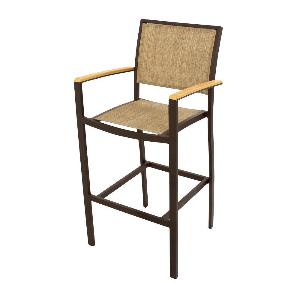 Bayline Textured Bronze All-Weather Aluminum/Plastic Outdoor Bar Arm Chair in Burlap Sling
