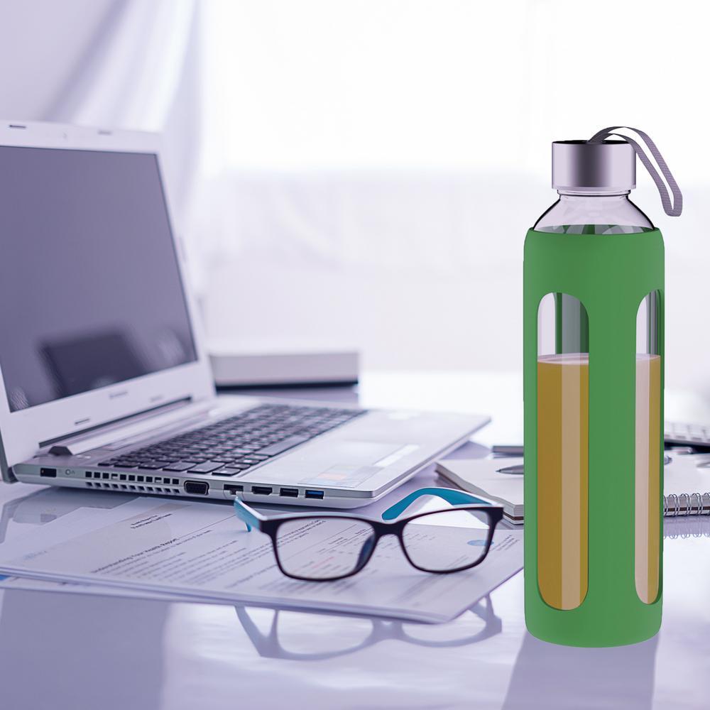 20 oz. Green BPA Free Glass Water Bottle