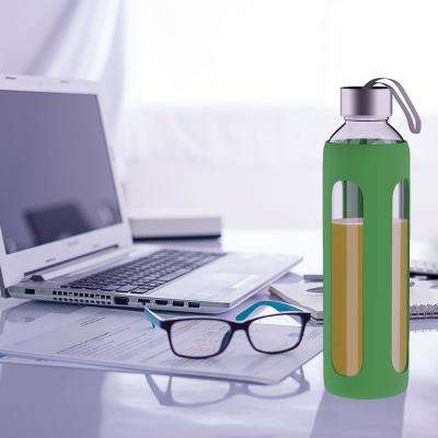 20 oz. Green BPA Free Glass Water Bottle