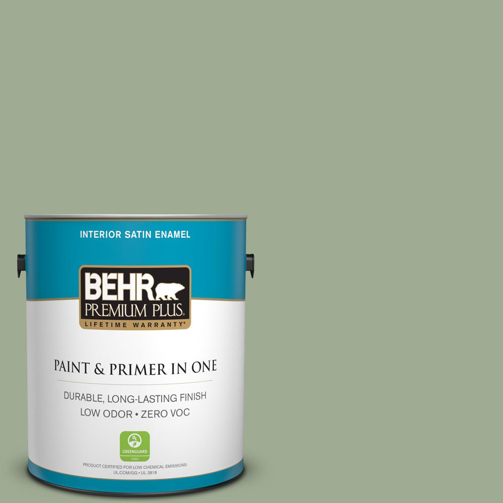 BEHR Premium Plus 1-gal. #S390-4 Roof Top Garden Satin Enamel Interior Paint