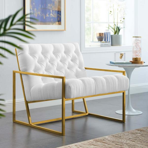 Modway Bequest White Gold Stainless Steel Upholstered