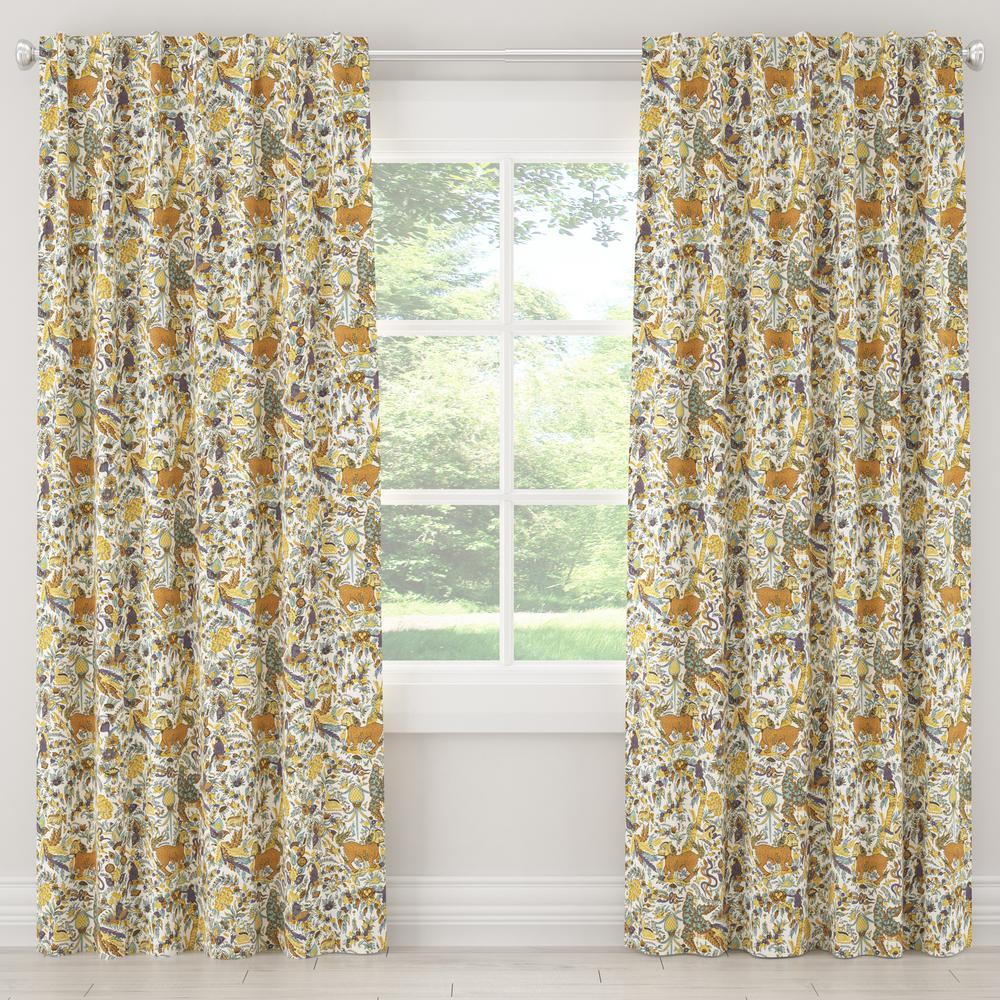 50 in. W x 84 in. L Unlined Curtain in Bali Lion Ochre