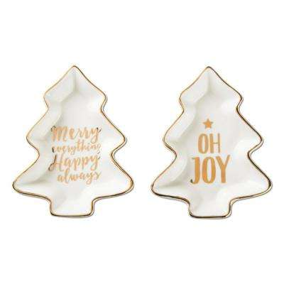 Merry & Joy White and Gold Bone China Plates (2-Piece)
