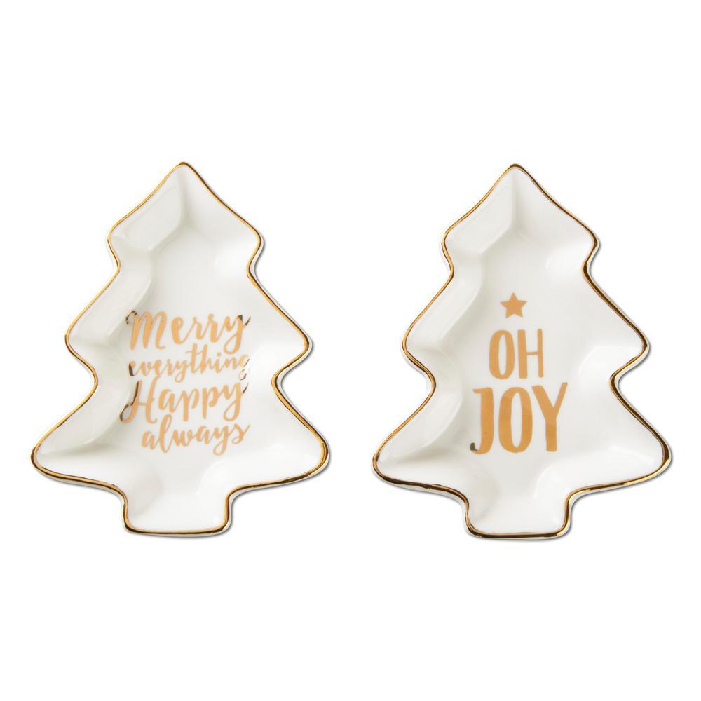 Merry & Joy White and Gold Bone China Plates (2-Piece)