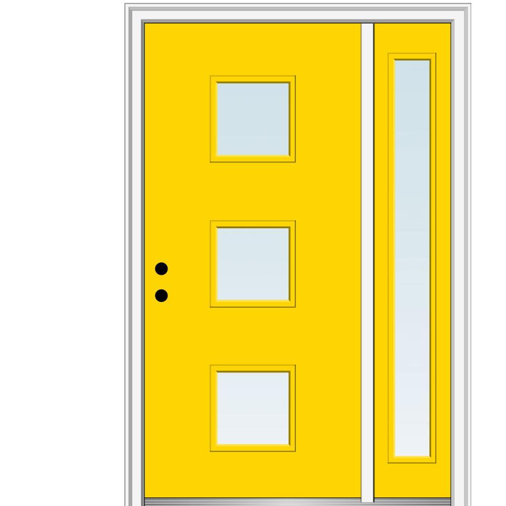 MMI Door 51 in. x 81.75 in. Aveline Low-E Glass Right-Hand 3-Lite Modern Painted Fiberglass Smooth Prehung Front Door w/ Sidelite