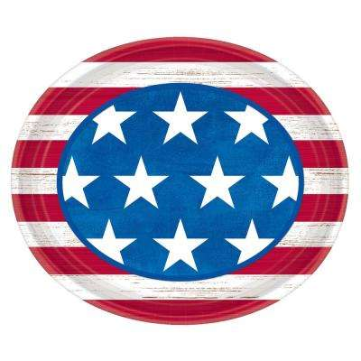 12 in. x 10. in. Americana Oval Plates (18-Count, 3-Pack)