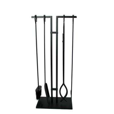 Habitat 4-Piece Fireplace Tool Set Black