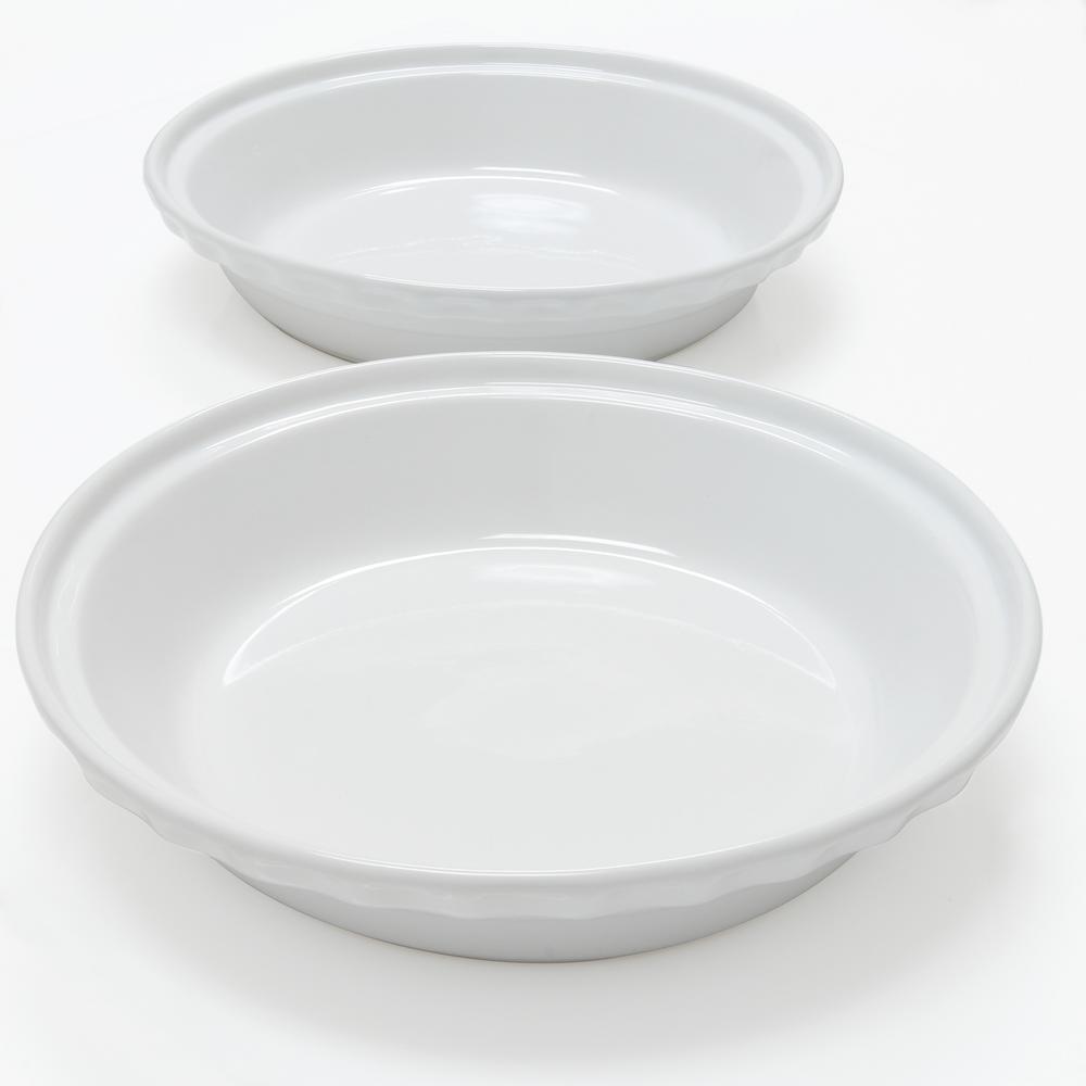 Deep 9.5 in. Glossy White Round Ceramic Pie Dish (2-Pack)