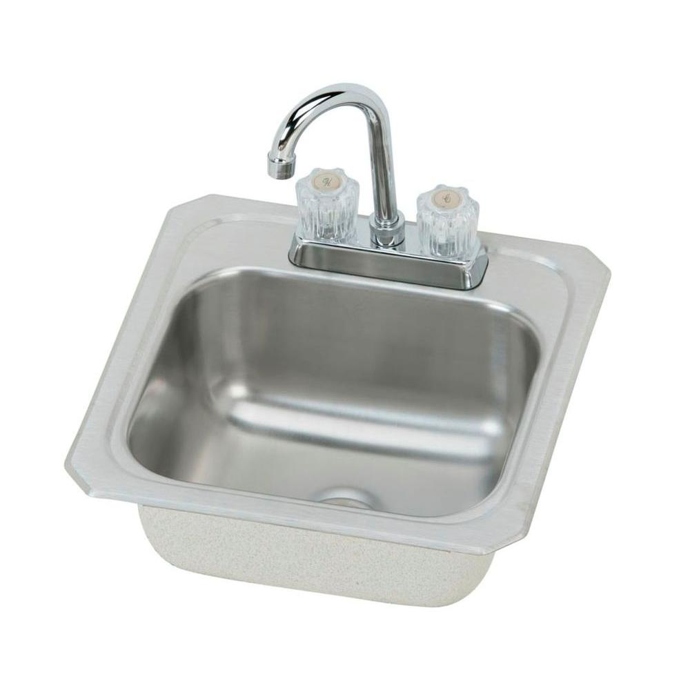 Elkay Celebrity Drop-In Stainless Steel 15 in. Single Bowl Hospitality/Bar Sink with Faucet Satin