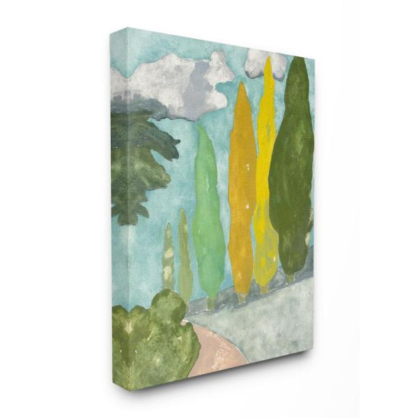 16 In X 20 In Tall Colored Bushes Sidewalk Plain Air Painting By Rob Delamater Canvas Wall Art