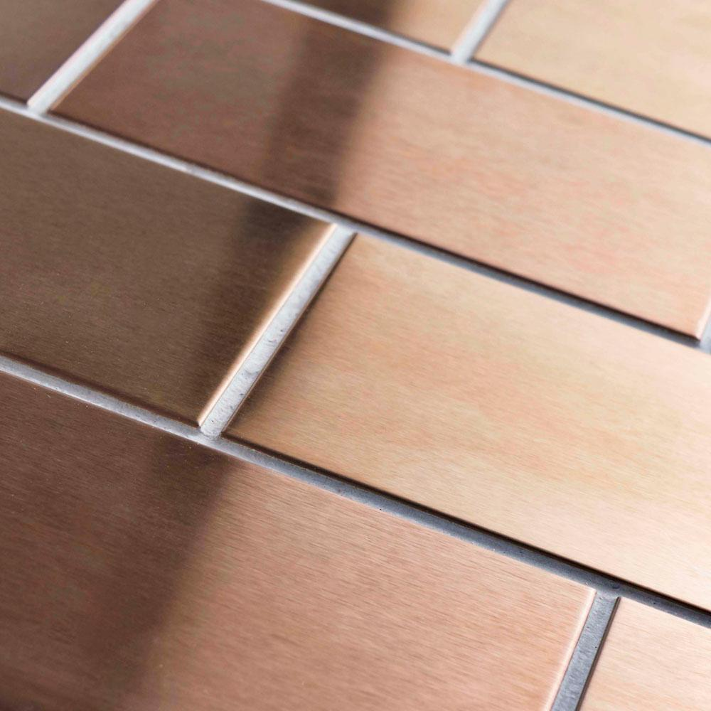 - Merola Tile Alloy Copper 3 In. X 6 In. Stainless Steel Metal Over