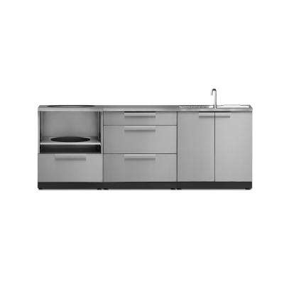 Stainless Steel 4-Piece 92 in. W x 36.5 in. H x 24 in. D Outdoor Kitchen Cabinet Set with Countertop and Covers