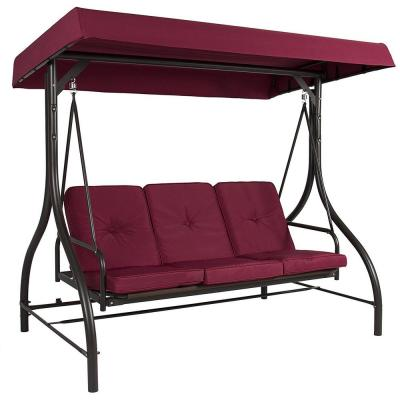 3-Person Steel Metal Outdoor Patio Swing Canopy Hammock with Wine Cushions