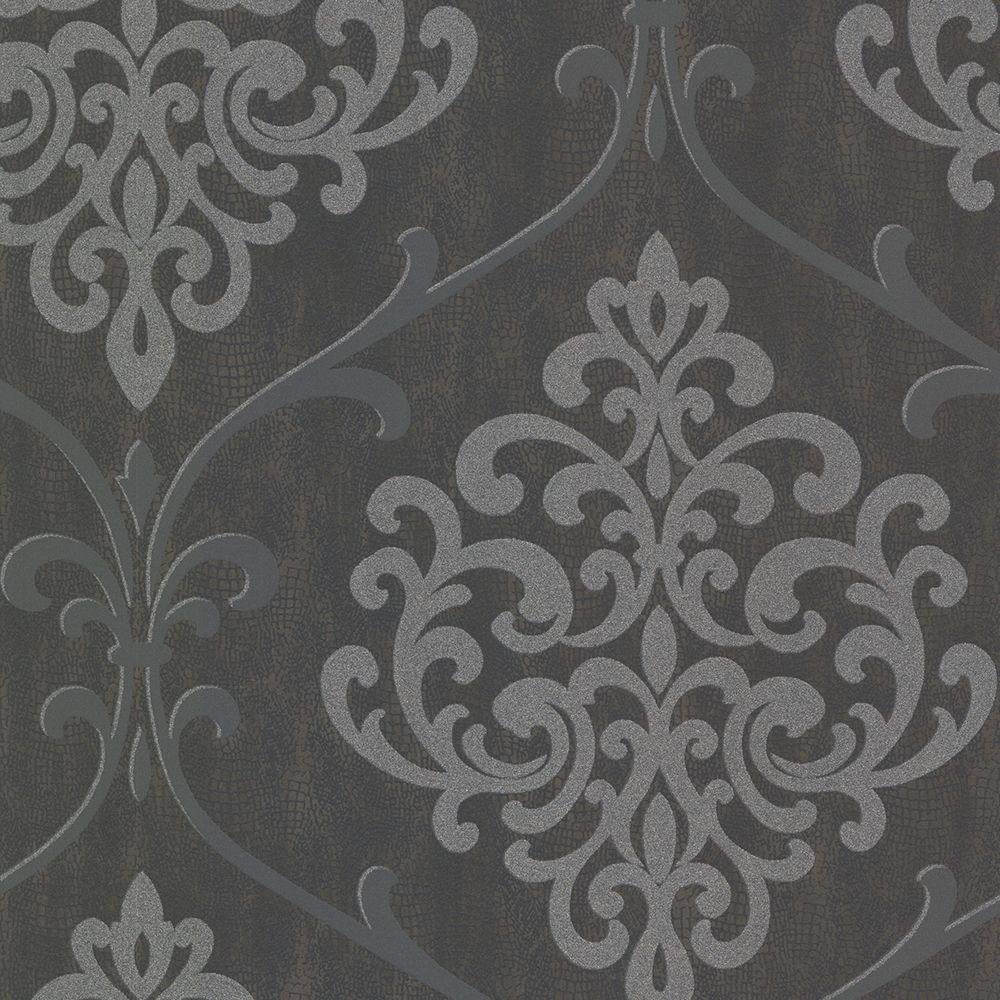 Kenneth James Ambrosia Charcoal Glitter Damask Wallpaper 2542