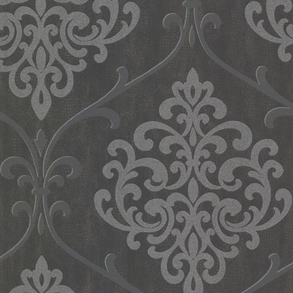Kenneth James Ambrosia Charcoal Glitter Damask Wallpaper 2542-20718