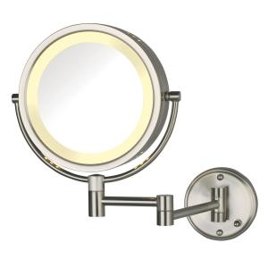 8.5 in. Lighted Wall Makeup Mirror in Nickel, Direct Wire