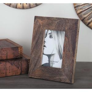 1-Opening 7 inch x 9 inch Rustic Brown Picture Frame by
