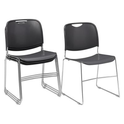 NPS 8500 Series Gunmetal Ultra-Compact Plastic Stack Chair (4-Pack)