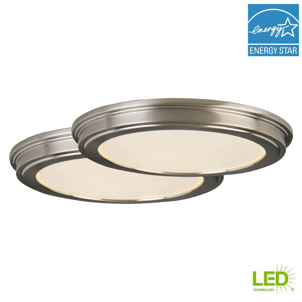 24 Watt Brushed Nickel Integrated Led Ceiling Flush Mount 2 Pack