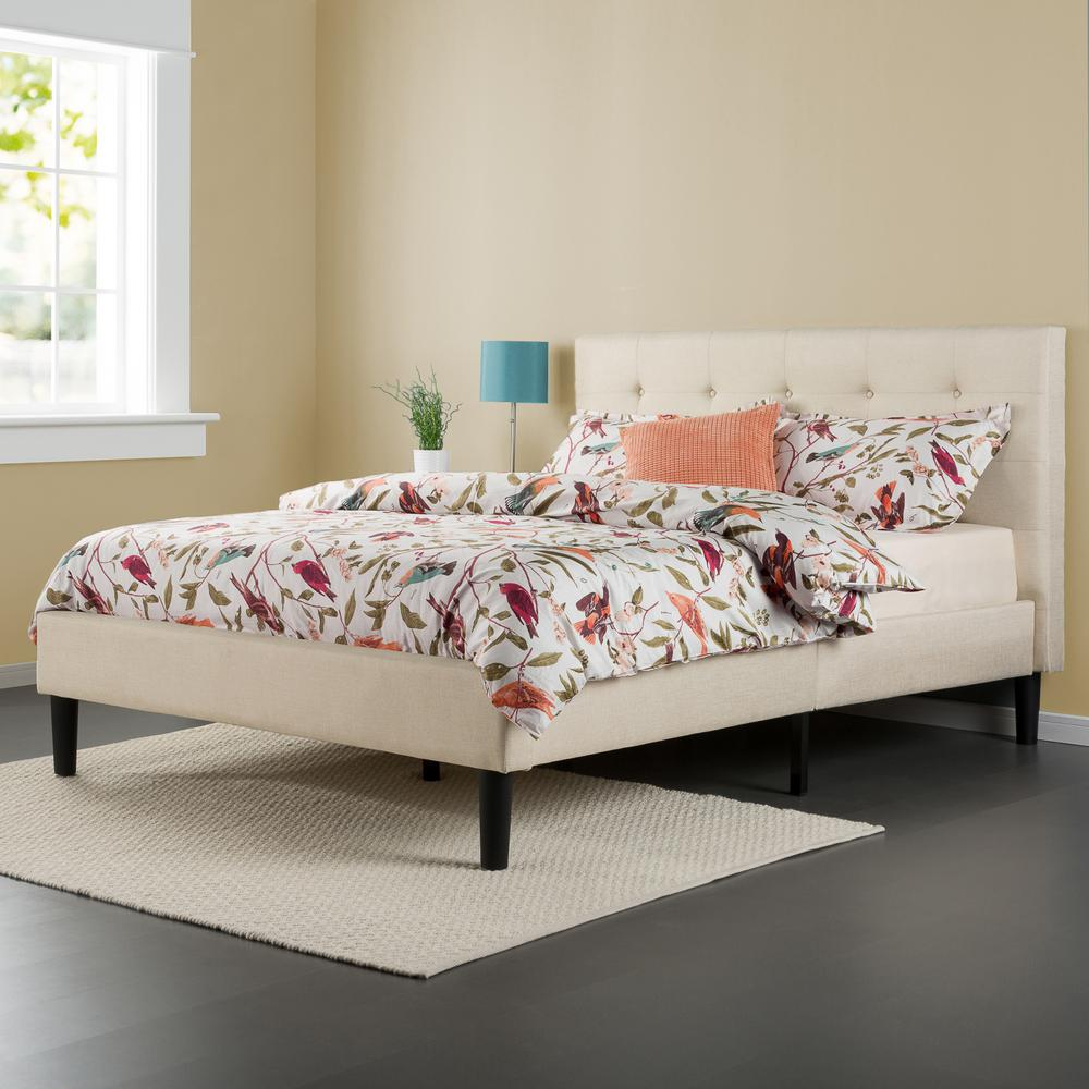 Zinus Taupe Twin Upholstered Bed