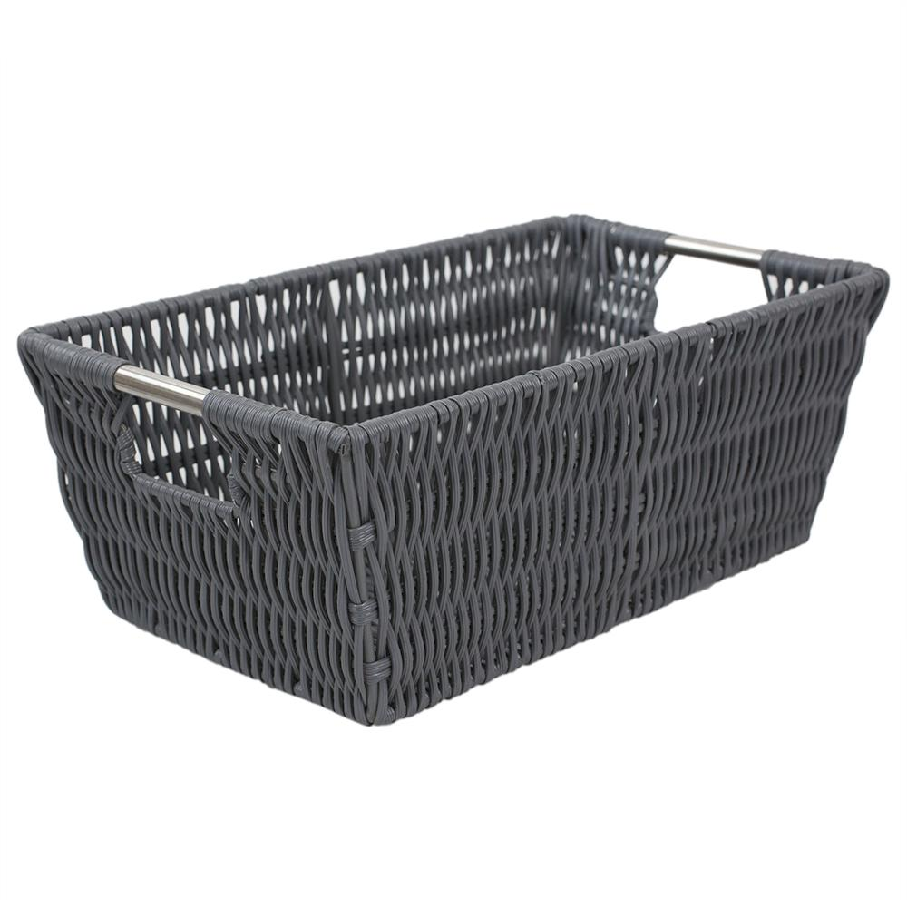 Intricate Decorative Weave 6.5 in. x 4.5 in. Grey Basket