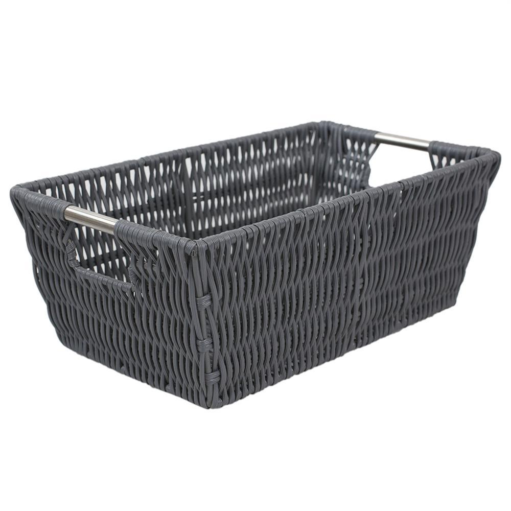 Intricate Decorative Weave 6.5 in. x 4.5 in. Grey Basket