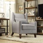 HomeSullivan Ashley Blue Linen Wing Back Arm Chair