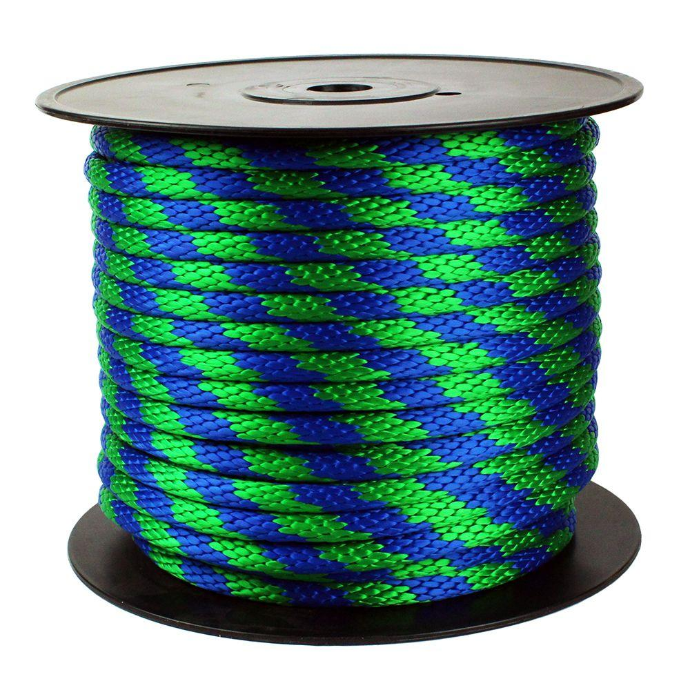 5/8 in. x 200 ft. Solid Braid Polypropylene Rope, Green/Blue