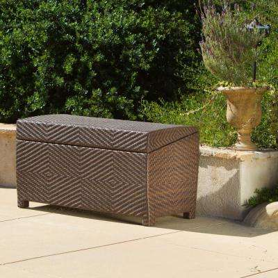 Multi-Brown Wicker Outdoor Storage Chest