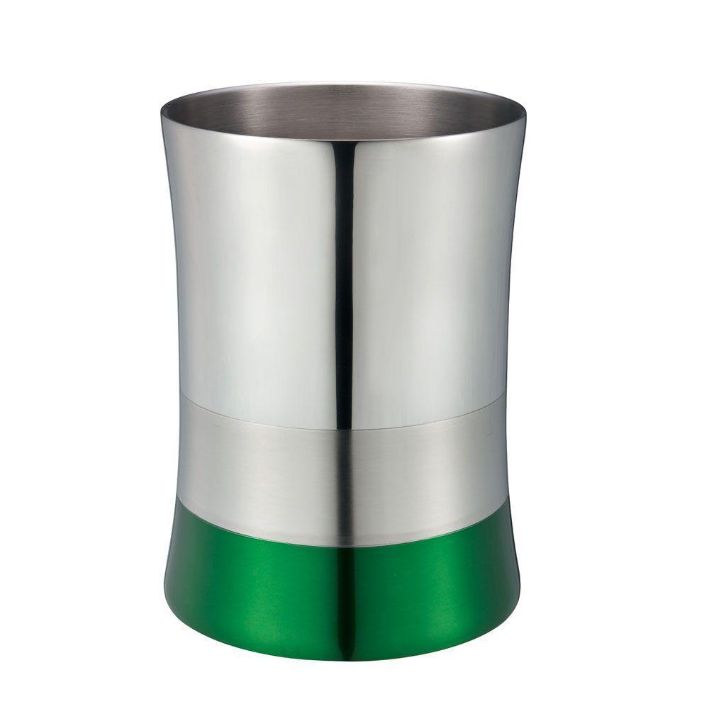 5 l Shiny Matte Colorblock Bottom Waste Basket in Green