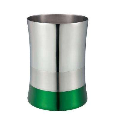 5 l Shiny Matte Colorblock Bottom Waste Basket in Green