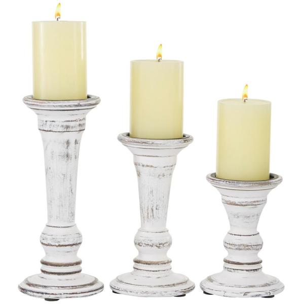 "Whitewashed Wood Pillar Candle Holder with Wide Base, Set of 3: 10.1""H, 8.25""H, 6""H"