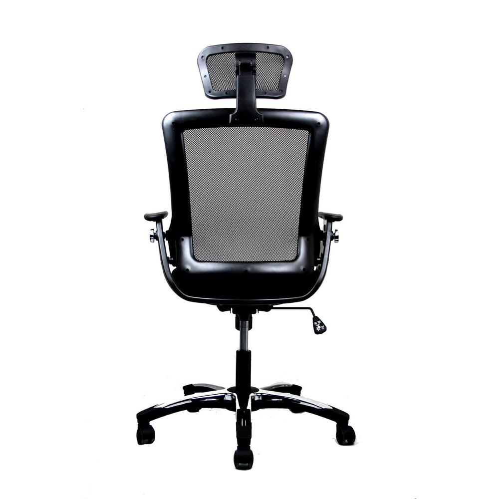 Black Modern High Back Mesh Executive Office Chair With Headrest
