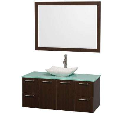 Amare 48 in. Vanity in Espresso with Glass Vanity Top in Green, Marble Sink and 46 in. Mirror