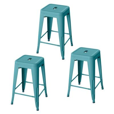 Loft Style 24 in.Teal Stackable Metal Bar Stool (Set of 3)