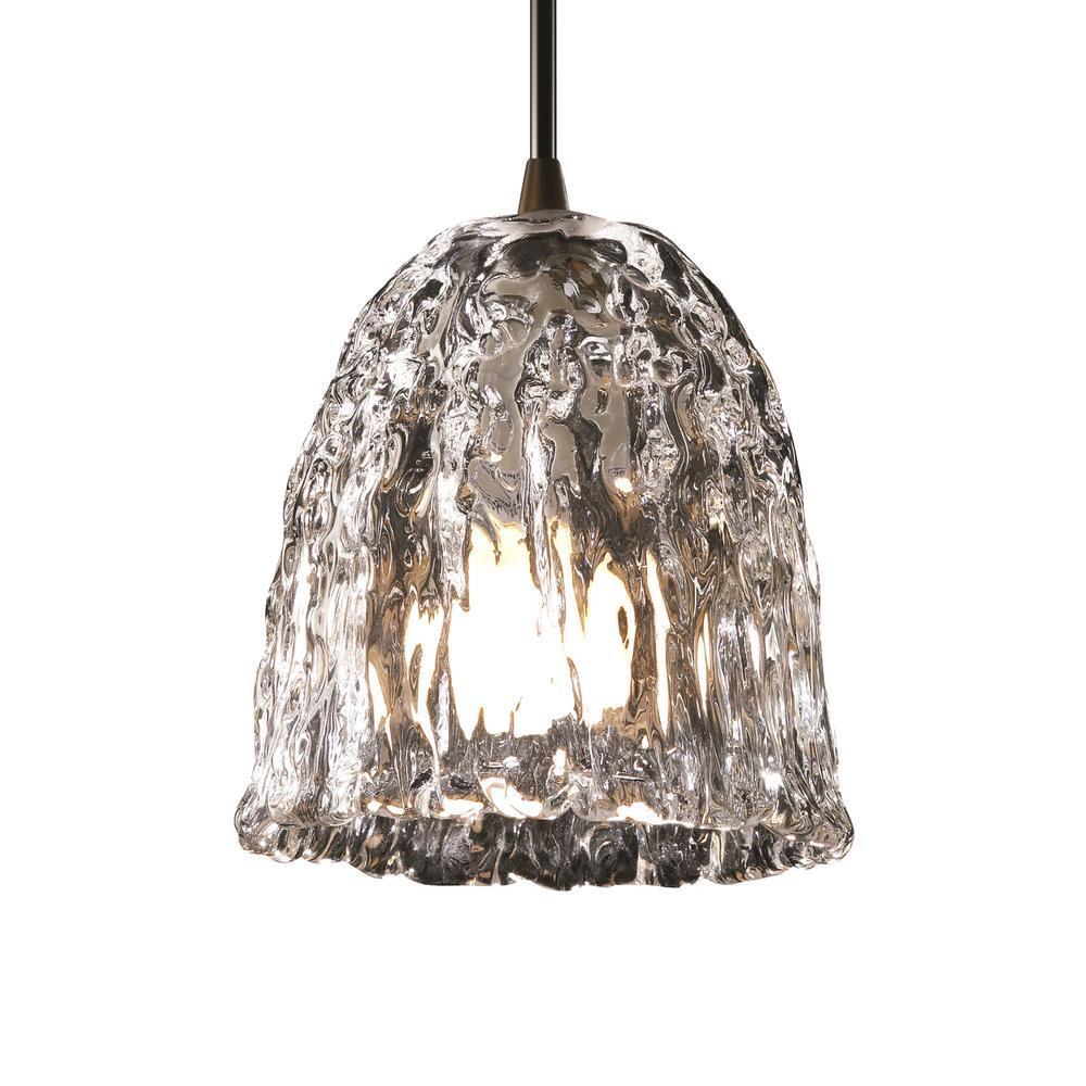 Veneto Luce 1-Light Dark Bronze Pendant with Clear Textured Shade