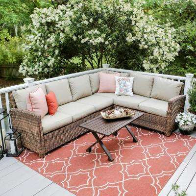 Dalton 5-Piece Wicker Outdoor Sectional with Sunbrella Cast Ash Cushions