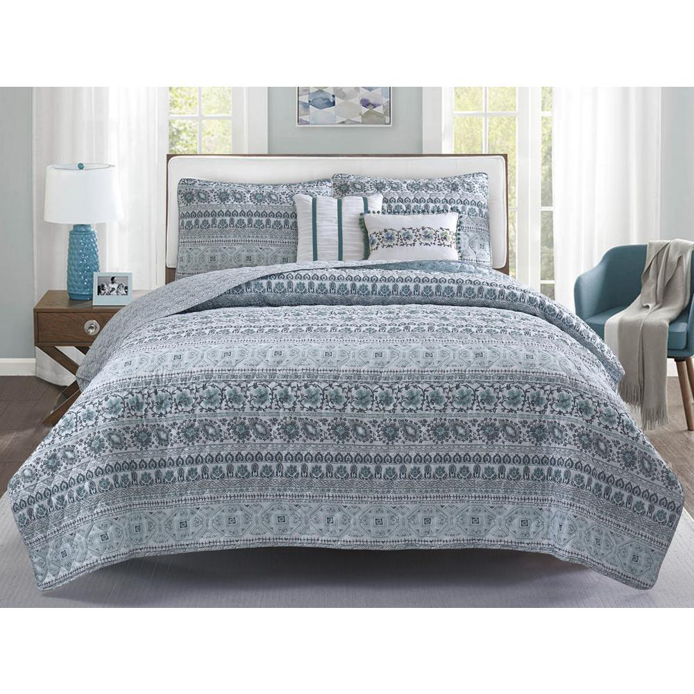 R2zen Chloe 5 Piece Blue And Grey Floral Full Queen Quilt Set A605bl13 The Home Depot