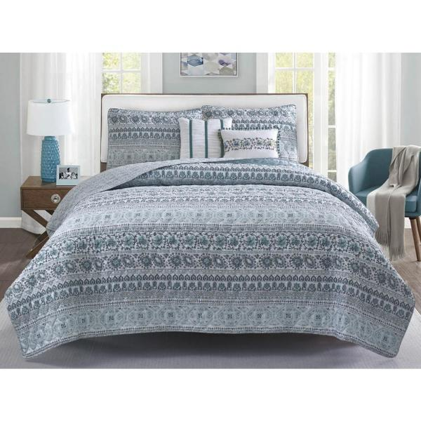 Chloe 5-Piece Blue and Grey Floral Full/Queen Quilt Set