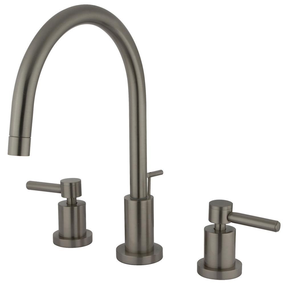 Kingston brass abington 8 in widespread 2 handle high arc bathroom faucet in satin nickel for Satin nickel widespread bathroom faucet