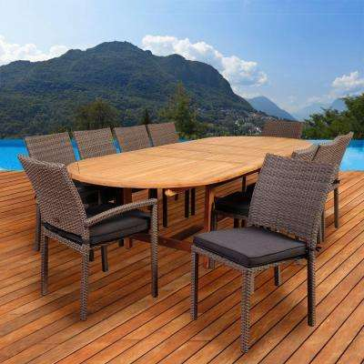 Jameson 11 Piece Teak/Wicker Double Extendable Oval Patio Dining Set With  Grey Cushions
