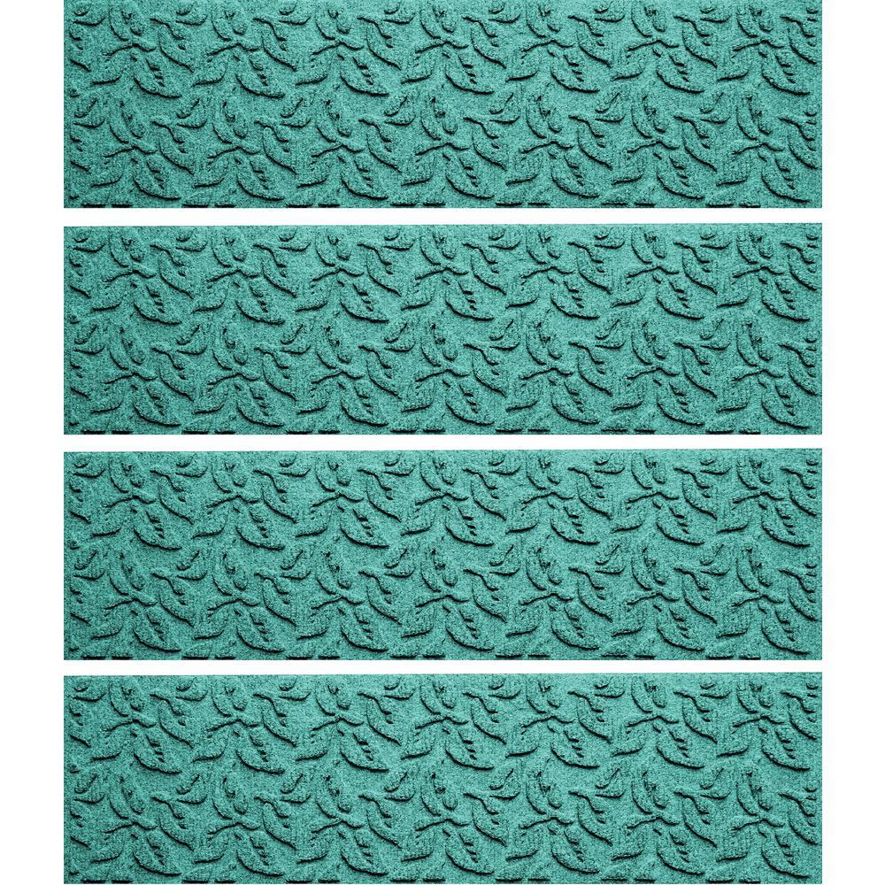 Aquamarine 8.5 in. x 30 in. Dogwood Leaf Stair Tread (Set of 4)