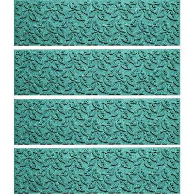 Aquamarine 8.5 in. x 30 in. Dogwood Leaf Stair Tread Cover (Set of 4)