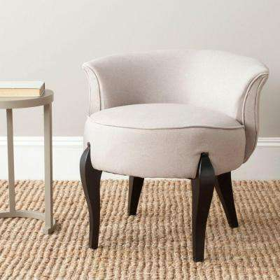 Mora Taupe Linen and Black Vanity Chair
