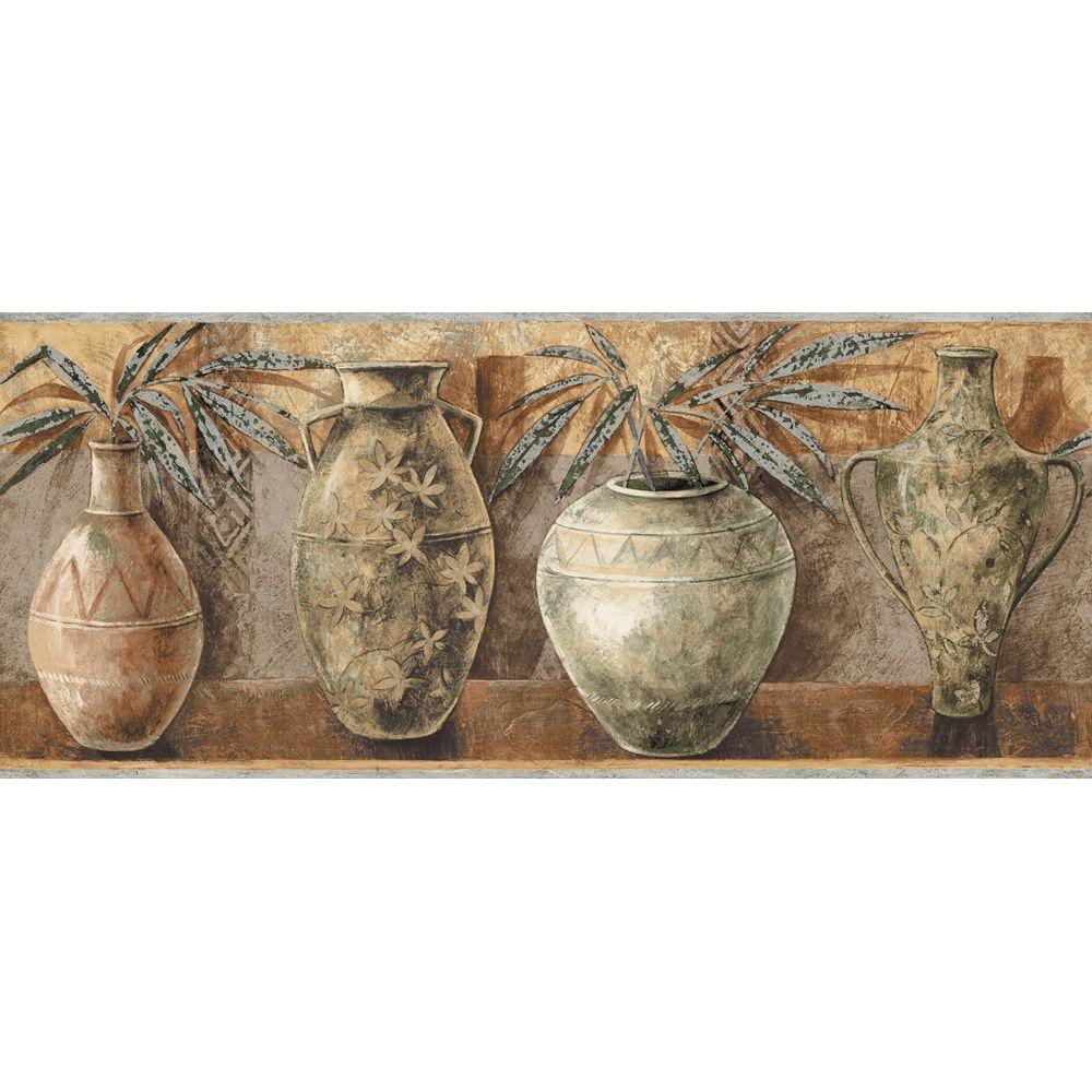 The Wallpaper Company 8 in. x 10 in. Brown Earth Tone Ethnic Vases Border Sample