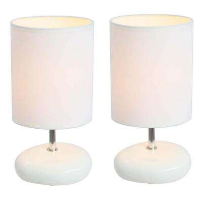 10.5 in. White Stonies Small Stone Look Table Bedside Lamp (2-Pack)